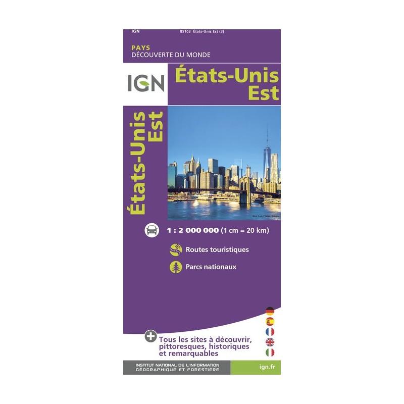IGN Etats-Unis Est - Carte topographique
