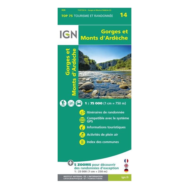 IGN Gorges Et Monts-D'Ardêche - Carte topographique