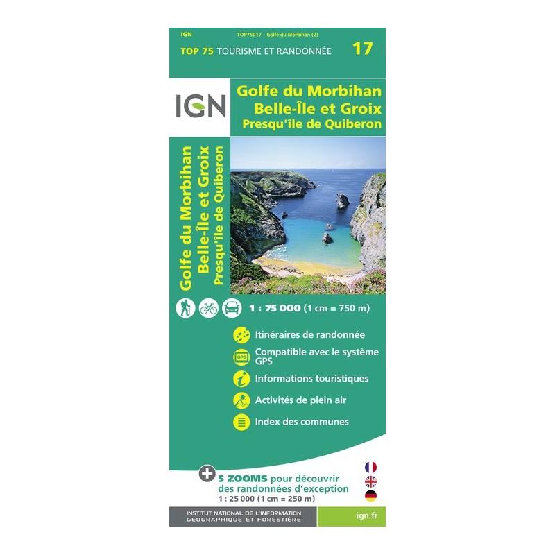 IGN Golfe-Du-Morbihan / Ile-De-Groix / Belle-Ile / Presqu'Île-De-Quiberon - Carte topographique