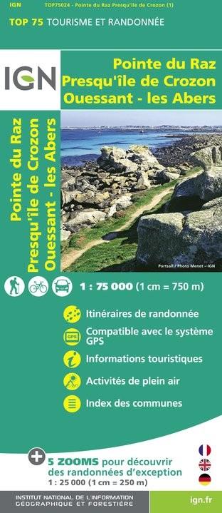 IGN Ouessant / Les Abers / Crozon / Pointe Du Raz - Carte topographique