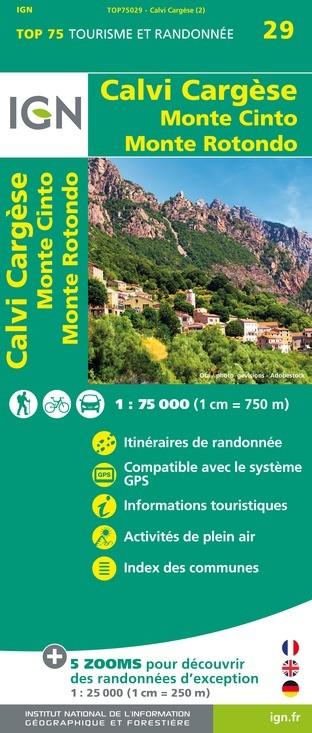 IGN Calvi / Cargesse / Monte Conto / Monte Rotondo - Carte topographique