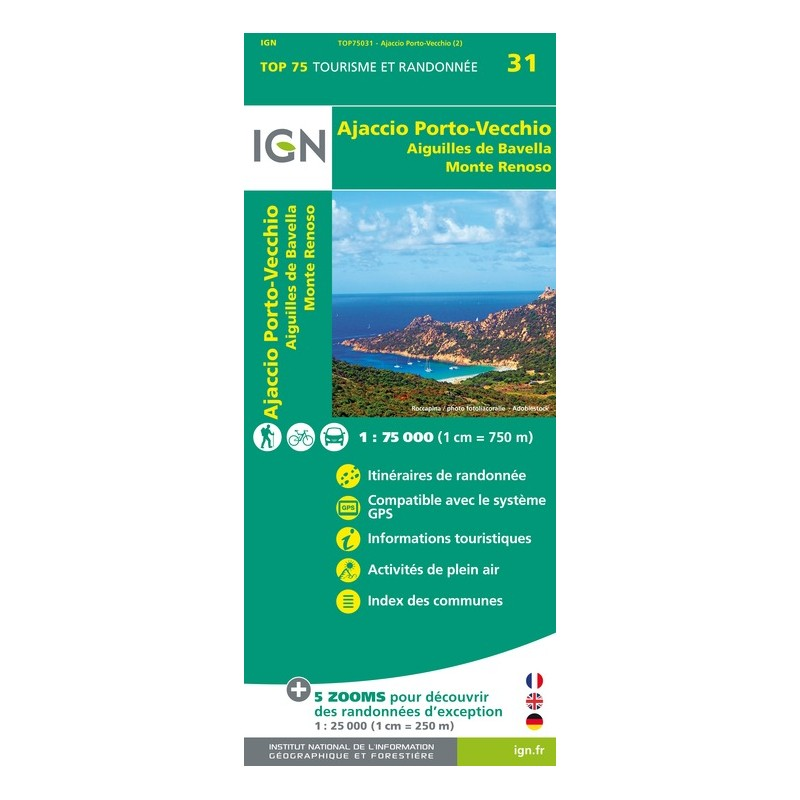 IGN Ajaccio / Porto Vecchio / Aiguilles De Bavella / Monte Renoso - Carte topographique
