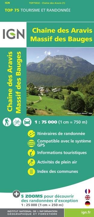 IGN Chaine Des Aravis / Massif Des Bauges - Carte topographique