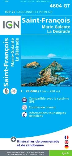 IGN St François - Grande Terre - Marie-Galante - La Désirade - Carte topographique