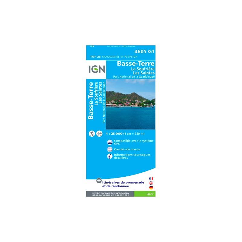 IGN Basse Terre - Soufrière - Les Saintes - Carte topographique