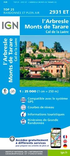 IGN L'Arbresle / Monts De Tarare - Carte topographique