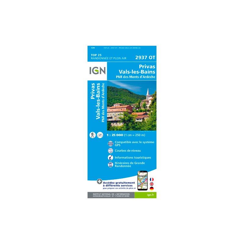 IGN Privas. Vals Les Bains - Carte topographique