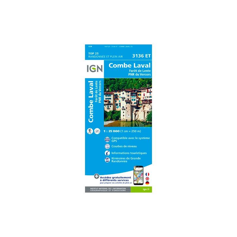IGN Combe Laval - Forêt De Lente / Pnr Du Vercors - Carte topographique