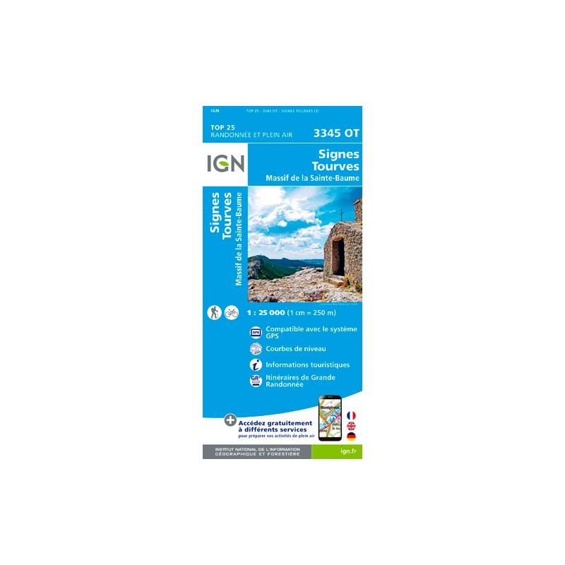 IGN Signes - Tourves - Massif De La Ste-Baume - Carte topographique
