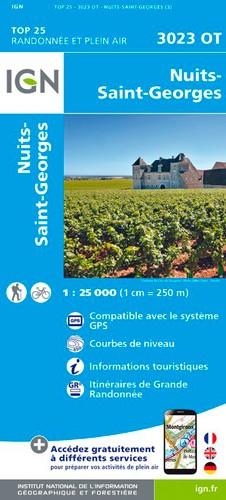 IGN Nuits-Saint-Georges - Carte topographique