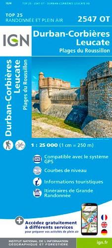 IGN Durban-Corbières.Leucate.Plages Du Roussillon - Carte topographique
