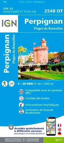 IGN Perpignan.Plages Du Roussillon - Carte topographique