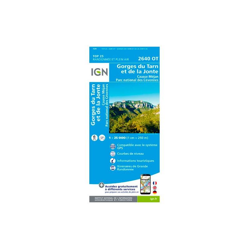 IGN Gorges Du Tarn Et De La Jonte.Causse Méjan.Pn Des Cévennes - Carte topographique