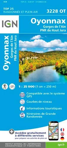 IGN Oyonnax.Gorges De L'Ain.Pnr Du Haut Jura - Carte topographique