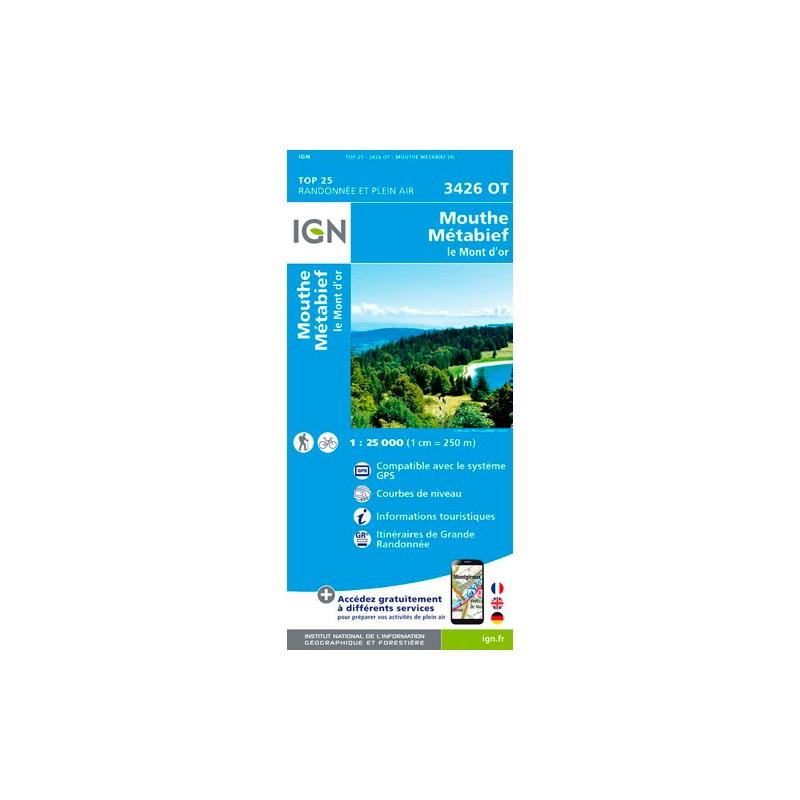 IGN Mouthe / Matabief / Le Mont D'Or - Carte topographique