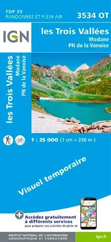 IGN Les Trois Vallées.Modane.Pn De La Vanoise - Carte topographique