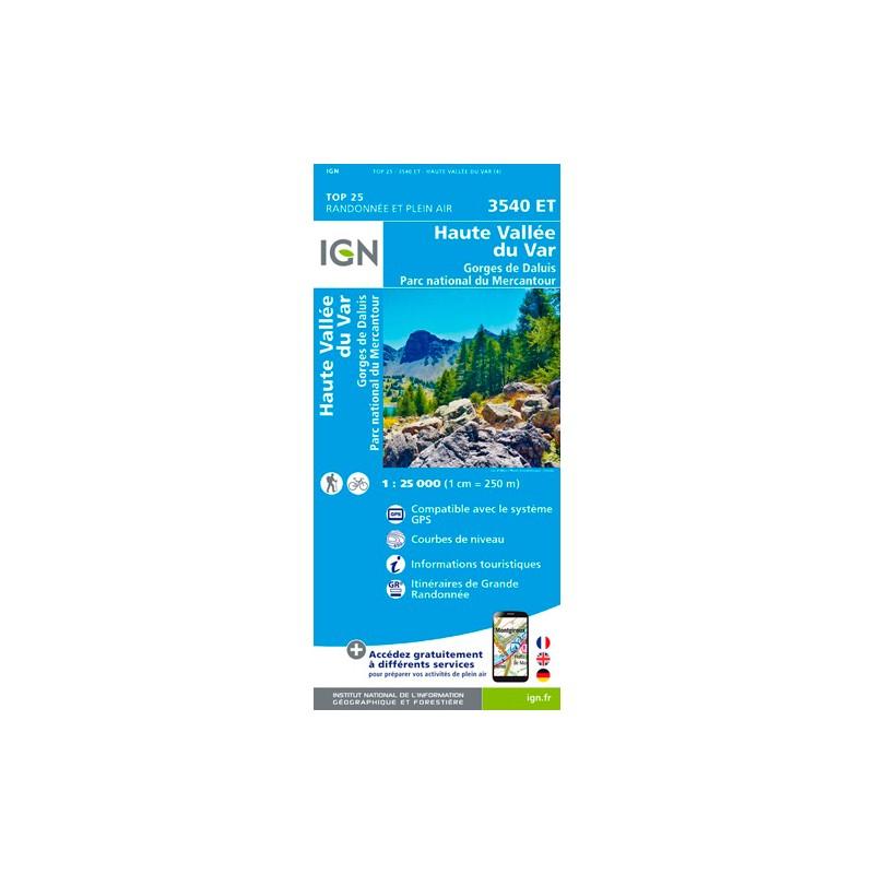 IGN Haute Vallée Du Var / Gorges De Daluis / Pn Du Mercantour - Carte topographique