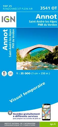 IGN Annot.Saint-André-Les-Alpes.Pnr Du Verdon - Carte topographique