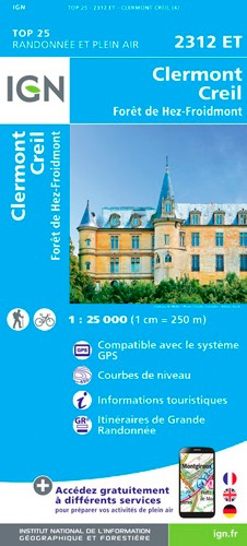 IGN Clermont / Creil / Forêt De Hez / Froidmont - Carte topographique
