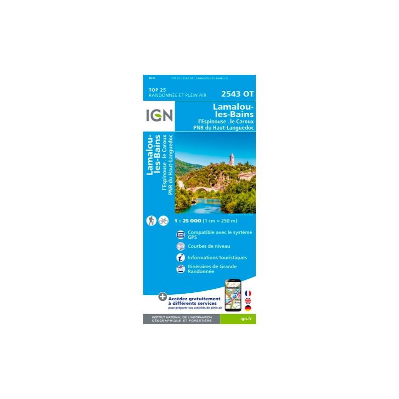 IGN Lamalou-Les-Bains.L'Espinouse.Le Caroux.Pnr Du Haut-Languedoc - Carte topographique