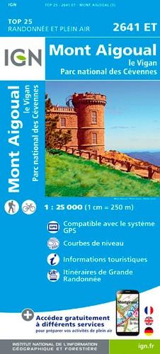 IGN Mont Aigoual.Le Vigan.Pn Des Cévennes - Carte topographique