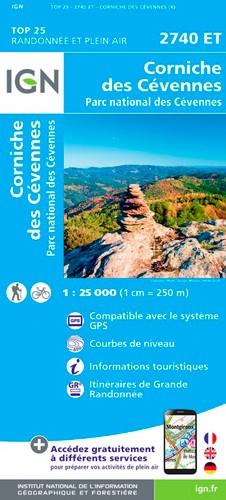 IGN Corniche Des Cévennes.Parc National Des Cévennes - Carte topographique