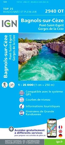 IGN Bagnols-Sur-Cèze / Pont-St-Esprit / Forêts De Valbonne Et De Méjannes - Carte topographique