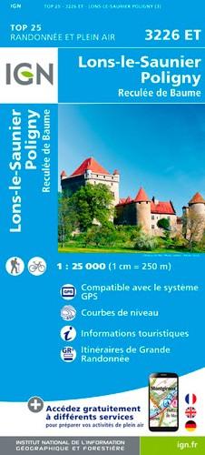 IGN Lons-Le-Saunier.Poligny.Reculée De Baume (Remplace 3226O) - Carte topographique