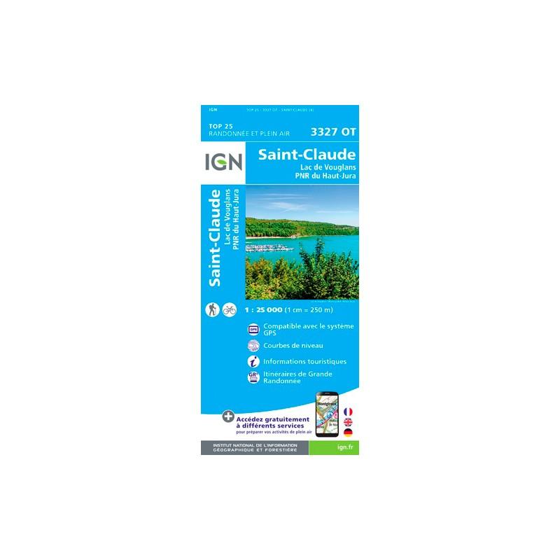 IGN St-Claude.Lac De Vouglans.Pnr Du Haut Jura - Carte topographique