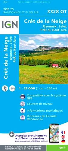 IGN Crêt De La Neige.Oyonnax.Lélex.Pnr Du Haut Jura - Carte topographique
