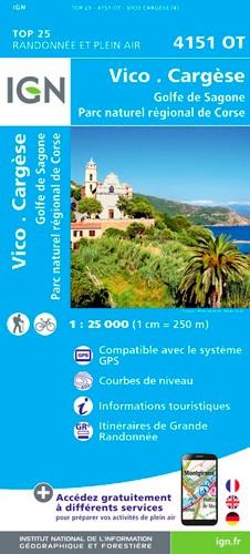 IGN Vico.Cargèse.Golfe De Sagone.Pnr De Corse - Carte topographique