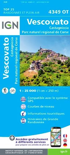 IGN Vescovato.Castagniccia.Pnr De Corse - Carte topographique