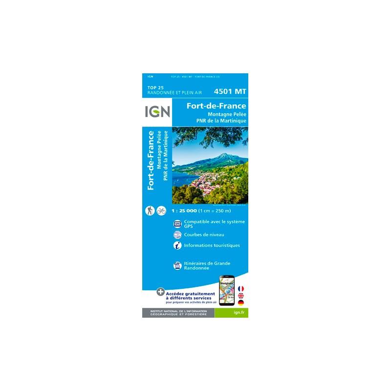 IGN Fort-De-Fance.Montagne Pelee.Pnr De Martinique - Carte topographique