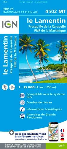 IGN Le Lamentin.Presqu'Île De La Caravelle.Pnr De Martinique - Carte topographique