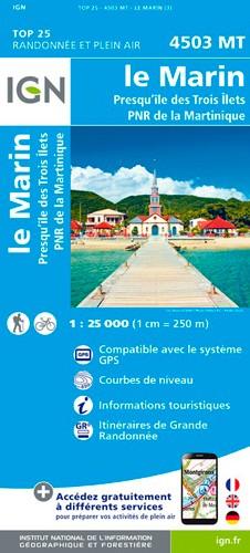 IGN Le Marin.Presqu'Île Des Trois Îlets.Pnr De Martinique - Carte topographique