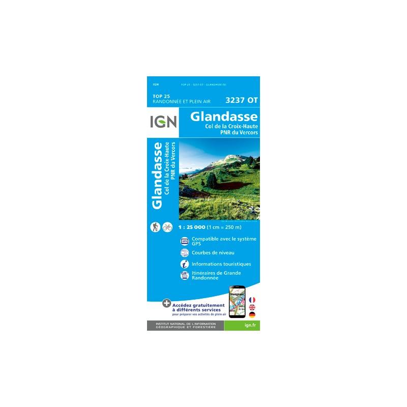 IGN Glandasse - Col De La Croix Haute. Pnr Vercors - Carte topographique