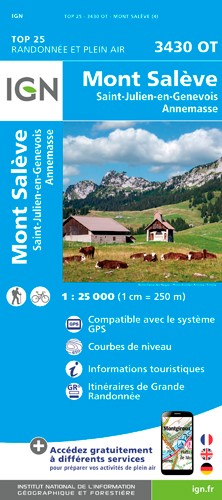 IGN Mont Salève. St-Julien-En-Genevois - Carte topographique