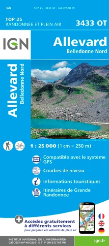 IGN Allevard - Belledonne Nord - Carte topographique