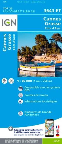 IGN Cannes - Grasses - Carte topographique