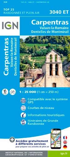 IGN Carpentras. Vaison La Romaine. Dentelles De Montmirail - Carte topographique