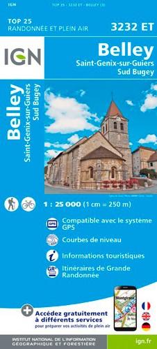 IGN Belley.Saint--Genix-Sur-Guiers.Sud Bugey - Carte topographique