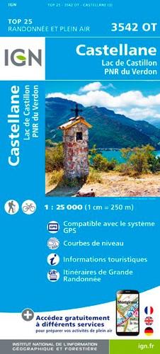 IGN Castellane / Lac De Castillon / Pnr Du Verdon - Carte topographique
