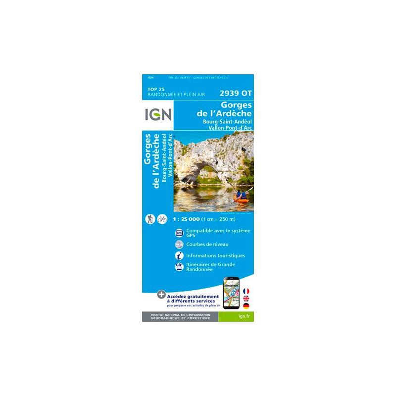 IGN Gorges De L'Ardêche.Bourg-Saint-Andéol.Vallon-Pont-D'Arc - Carte topographique