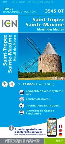 IGN Saint-Tropez.Sainte-Maxime.Massif Des Maures - Carte topographique
