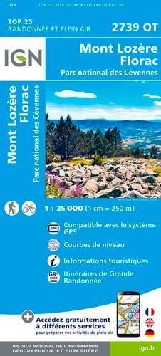 IGN Mont Lozère.Florac.Pn Des Cévennes - Carte topographique