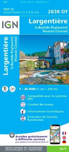 IGN Largentière.La Bastide-Puylaurent Vivarais Cévenol - Carte topographique