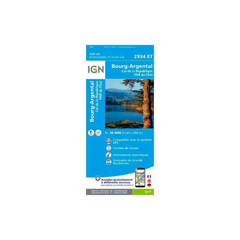 IGN Bourg-Argental.Col De La République.Pnr Du Pilat - Carte topographique