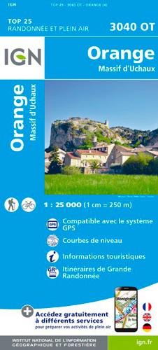 IGN Orange. Massif D'Uchaux - Carte topographique
