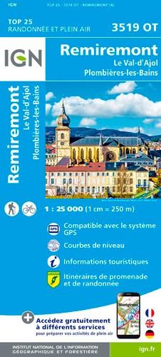 IGN Remiremont.Val D'Ajol.Plombières-Les-Bains - Carte topographique