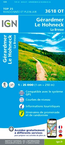 IGN Gérardmer.Le Hohneck.La Bresse - Carte topographique
